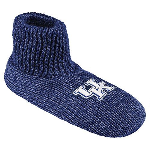NCAA Kentucky Wildcats Ribbed Cuff Wool Blend Slipper Socks, X-Small, Blue