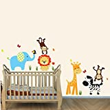 Color Me Happy, Jungle Animal Wall Decals,Kids Room Decor, Elephant, Lion, Giraffe, Monkey