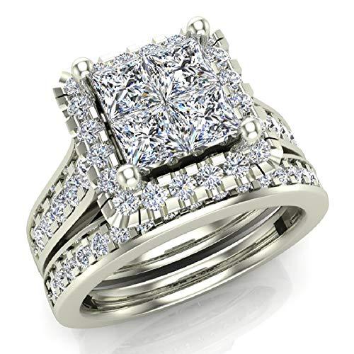(Princess Cut Quad Halo Wedding Ring Set 1.80 Carat Total Weight 14K White Gold (Ring Size)