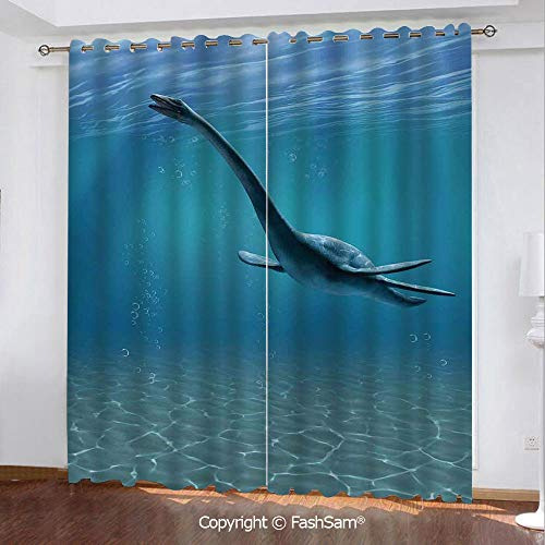 FashSam Blackout Curtains Set Room Darkening Drapes Aquatic Dinosaur The Elasmosaurus Lived During The Cretaceous Period Window Treatment Pair for Bedroom(108