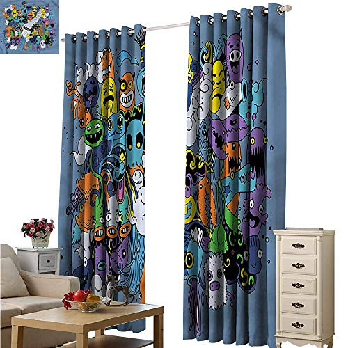 (Fakgod Living Room/Bedroom Window Curtains Indie Funky Monsters Society Space Decorations W84x84L)