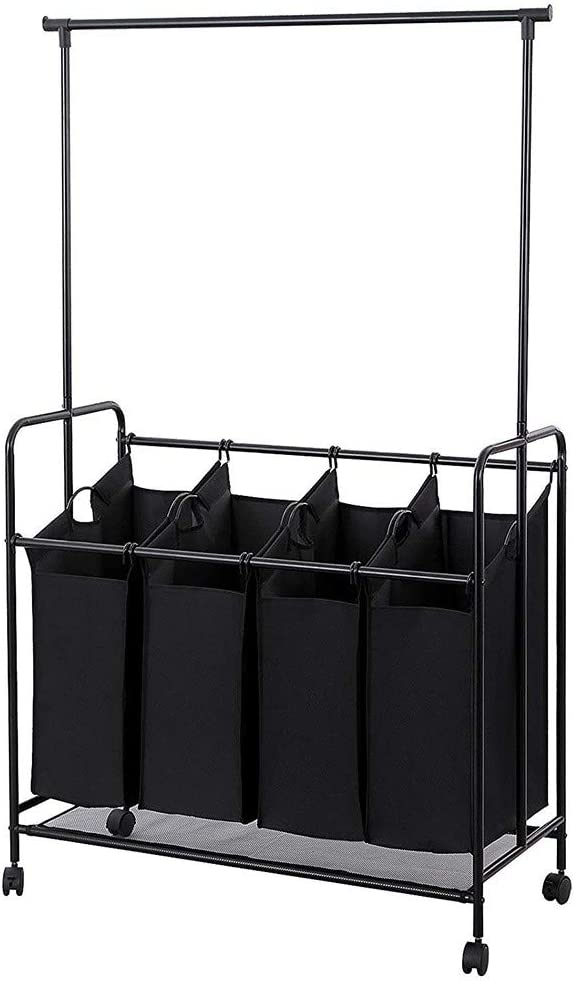 ASfairy 4-Bag Rolling Laundry Sorter, Heavy-Duty Laundry Hamper Sorter Cart with 4 Removable Large Bags, Wheels and Hanging Bar (Black)