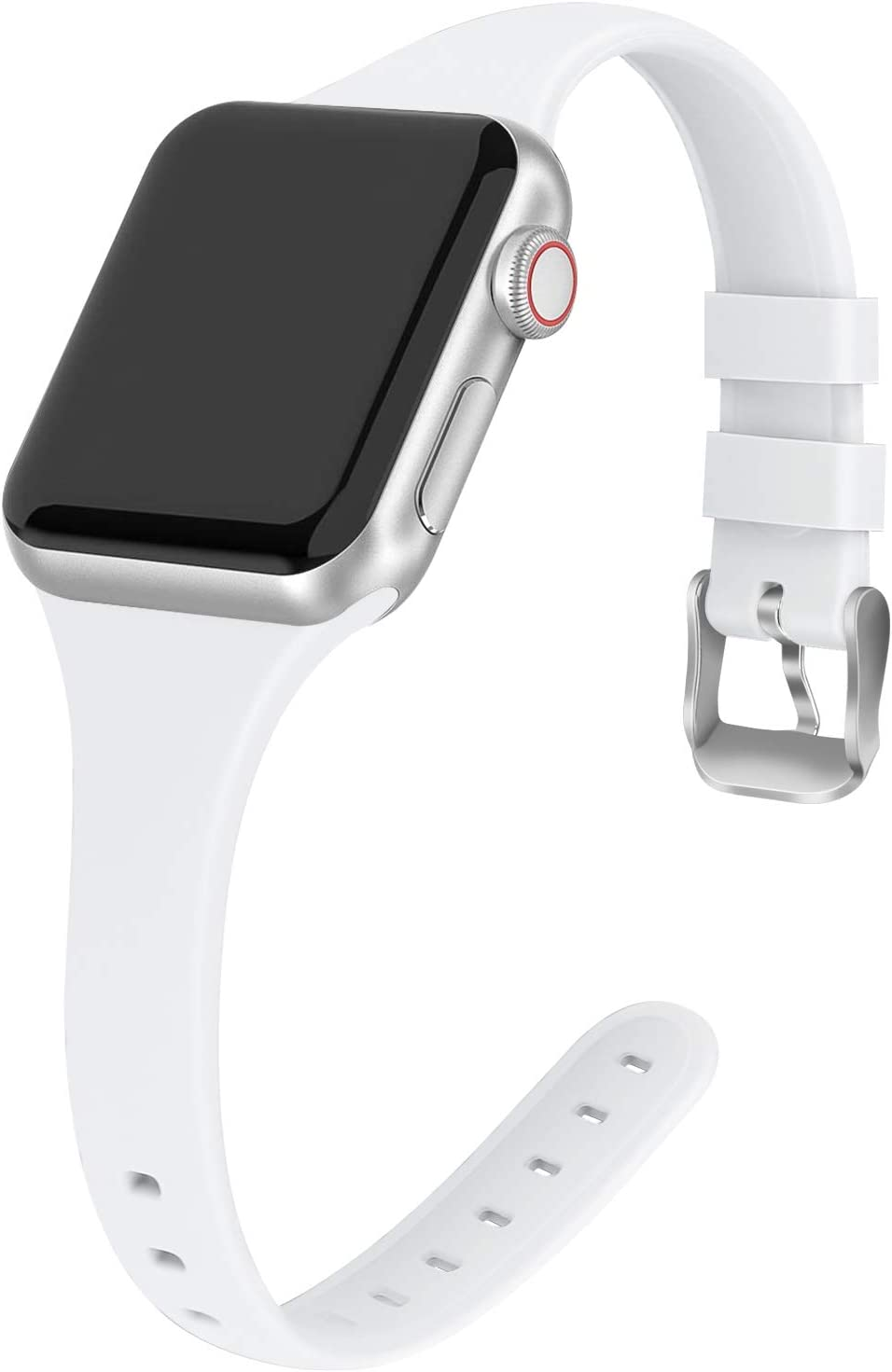 THWALK Sport Band Compatible with Apple Watch 38/40mm 42/44mm Slim Thin Narrow Silicone Replacement Strap with Stainless Steel Buckle Compatible for iWatch SE Series 6/5/4/3/2/1(White, 38/40mm)