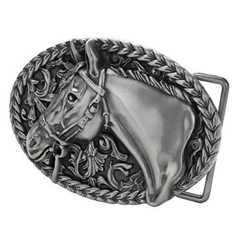 - Western Horse Belt Buckle Silver
