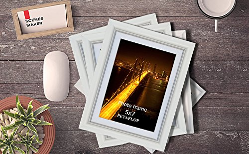 PETAFLOP 5x7 Picture Frame Set Hold 5 by 7 inch White Photo Frames, Set of 8 Pieces by PETAFLOP (Image #5)