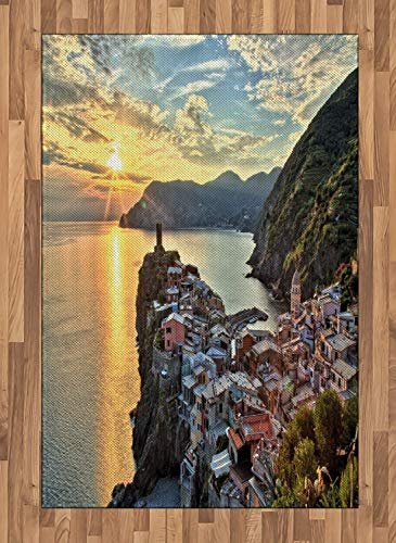 Vernazza Area Rugs 4'x5.7'ft,Amazing Sunrise Photo of Small Mediterranean Coastal Village on Cliffs in Italy Non Skid Floor Mat Carpet Entry Throw Runners Rug,Multicolor ()