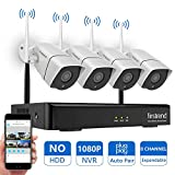 [Newest] Wireless Security Camera System, Firstrend 8CH 1080P Wireless NVR System with 4pcs 1.3MP IP Security Camera with 65ft Night Vision and Easy Remote View,P2P CCTV Camera System(No Hard Drive)