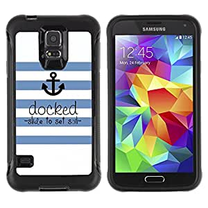 WAWU Rugged Armor Slim Protection Case Cover Shell -- sailor seaman ships anchor quote -- Samsung Galaxy S5 SM-G900