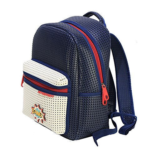Peterpoint Ergonomic Backpack School Supply Essentials EVA Schoolbag for Kids with Patch Navy Blue -