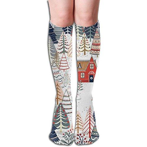 Funny Coniferous Tree Knee High Socks Nursing Tube Socks Thigh High Socks For Women (Stocking Evergreen)