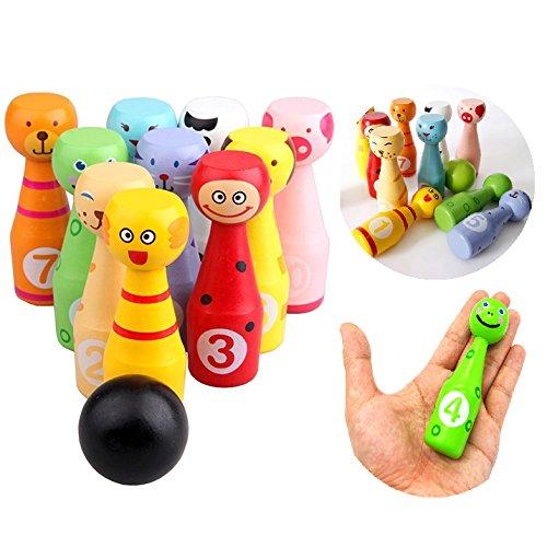 1 opinioni per Itian Fumetto animale multicolore Ciotola Set- Bowling di legno per bambini, 13