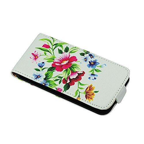 """Handytasche Flip Case """"Flower"""" für Apple Iphone 4s Handy Cover Schutz Hülle Etui"""