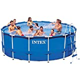 Intex 15ft X 48in Metal Frame Pool Set with Filter Pump, Ladder, Ground Cloth & Pool Cover For Sale