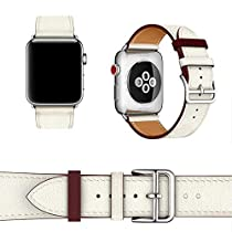 Compatible for Apple Watch Band 44mm 42mm 40mm 38mm Genuine Calf Leather Strap for iWatch Sport Series 4 Series 3 Series 2 Series 1 Super Soft Wristbands for WomenMen(Ambre/Capucine/Rose Azalée, 44MM For Series 4)