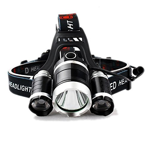 Pindia SUPER HEADLAMP - 12000 LUMEN, XM-L T6, 2X18650 BATTERY + CAR & WALL CHARGERS