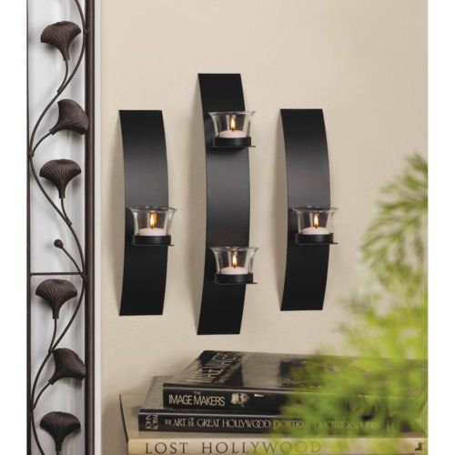WALL SCONCE SET: Contemporary Curved Black Iron Candle Holder Trio NEW ()