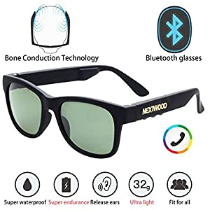 NEXTWOOD Bluetooth Headsets Glasses Sunglasses Wireless Bone Conduction Waterproof Intelligent MP3 4 Color Noise Reduction Microphone Telephone Cycling (Green Lens)