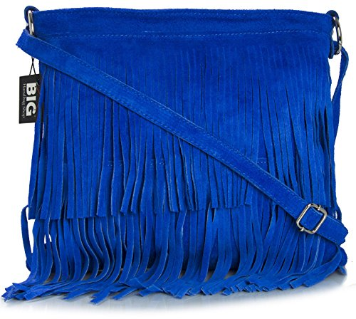 LiaTalia Womens Suede Leather Tassle Fringe Shoulder Bag (Large Size) - Ashley [Electric ()