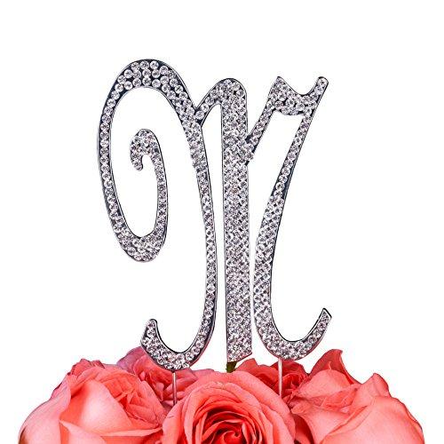 Monogram Cake Jewelry (LOVENJOY Gift Box Pack Personalized Letter M Crystal Rhinestone Wedding Engagement Birthday Bridal Shower Metal Cake Decoration Topper Silver (3-inch))