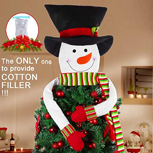HelaJoy Snowman Christmas Tree Topper - with Free Cotton Stuffing Snowman Tree Topper Treetops, Large Snowman Christmas Tree Ornaments for Home Décor, Great Tree Topper Ideas for Ornamental Trees