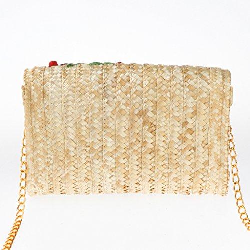 Handbags Bag Clutch Ladies Shoulder Straw Chain Bags Hand Summer Beach Women Cherry Woven Homyl PnwZ7x58q8
