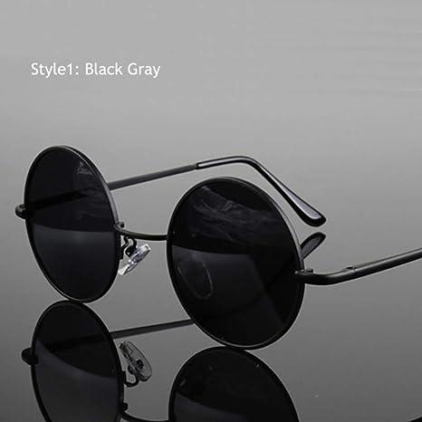 Yangjing-hl Gafas de Sol polarizadas Redondas clásicas Retro ...