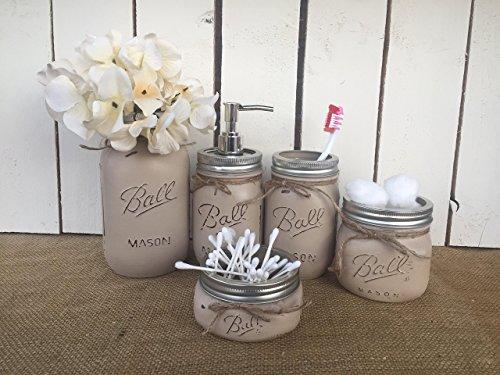 Painted-Mason-Jar-Bathroom-Set-of-5-BURLAP-TAN-Rustic-Distressed-Farmhouse-Decor-Bathroom-Soap-Dispenser-Painted-Mason-Jar-Burlap-Bowtique