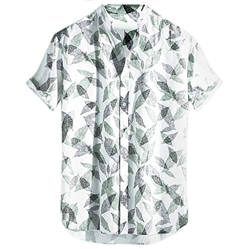 LUCAMORE Men's Leaves Printed Hawaiian Shirt Button Down Summer Casual Short Sleeve T Shirt White ()