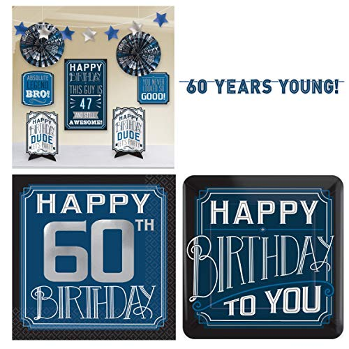 Masculine Guy Happy 60th Birthday Party Pack - Room Decorating Kit, Plates, Napkins and a Banner - Serves 16 Guests