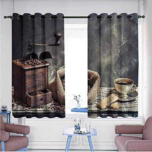 VIVIDX Living Room/Bedroom Window Curtains,Coffee,Grinder Machine Cookie Cup,Blackout Draperies for Bedroom,W63x72L