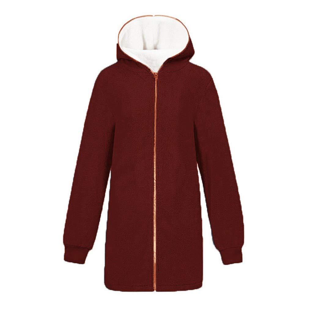 OTTATAT Warm Coat for Women,2019 Autumn Winter Ladies Hooded Solid Oversized Loose Fluffy Soft Comfort Zipper Outwears