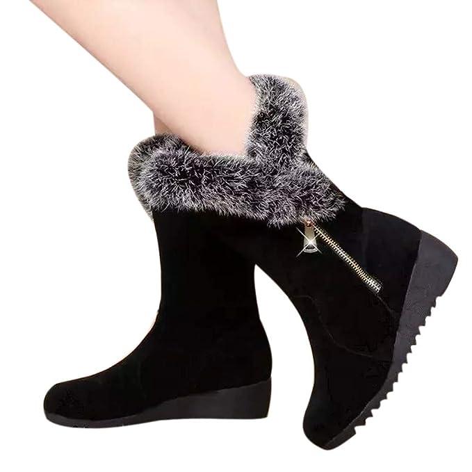 ❤ Botas de Nieve para Mujer y Terciopelo, Botines para Mujer Cremallera y Terciopelo Voots Plataforma de cuña Botas de Nieve cálidas de Invierno ...