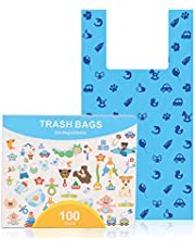 100 Poop Bags, Dog Waste Bags with Easy Tie Handles, Lavender-Scented, Completely Leak-Proof, Fits Standard Sized Cat Litter Scoops, 7.3 x 14.5 Inches, Easy Dispensing
