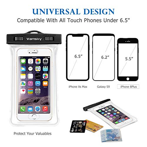 outlet store b0197 8077c Vansky Floatable Waterproof Phone Case, Waterproof Phone Pouch Dry Bag with  Armband and Audio Jack for iPhone 8/8Plus, 7/7 Plus, Galaxy/Google ...