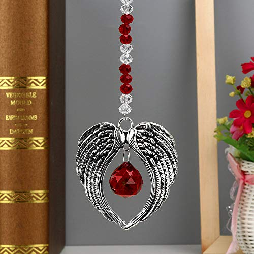 Hot Sale!DEESEE(TM)1PC Bohemian Wing Clear Crystal Ball Prisms Pendant Hanging Wedding Decor Gift (F)