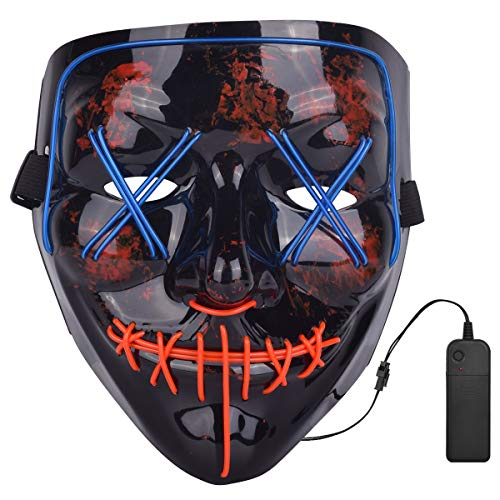 Senkoovi Led Light Up Mask Halloween Costume Cosplay Scary Glowing Mask (Blue and Red)
