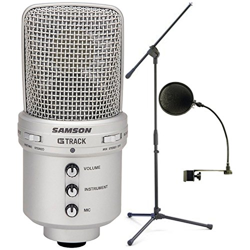 Samson Audio GM1U G-Track Condenser Microphone w/ Built-in USB Audio Interface w/ Pop Filter and Microphone Stand by Samson Technologies