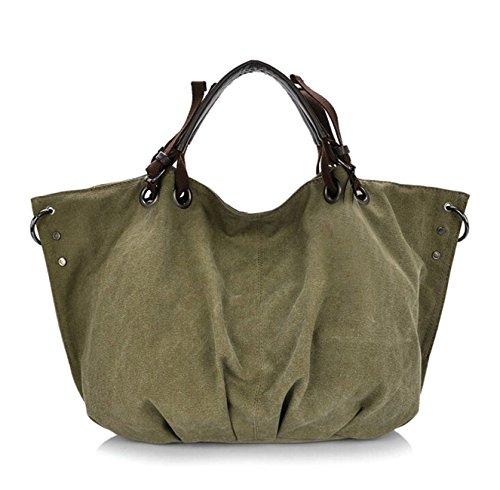Fansela(TM) Womens Retro Canvas Shopper Tote Shoulder Handbag (Army Green)