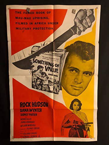 Something Of Value 1957 Original Vintage One Sheet Movie Poster, Rock Hudson, Sidney Poitier