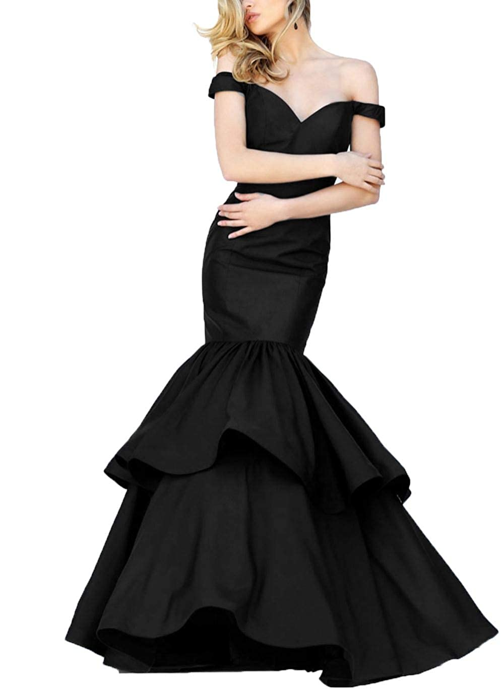 Black Yisha Bello Women's Off The Shoulder Mermaid Evening Formal Party Dress VNeck Ruffles Pro Dress
