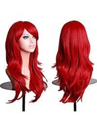 "Cool2day 28 ""Women's Hair Wig New Fashion Long Big Wavy Hair Heat Resistant Wig for Cosplay Party Costume JF1386 Wine Red"