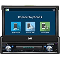 Premium 7In Single-DIN Android Car Stereo Receiver With Bluetooth and GPS Navigation - Pop-Out Touchscreen Motorized Slide-Out Display Screen With Wi-Fi Web Browsing And App Download