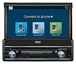 Pyle Single DIN In Dash Android Car Stereo Head Unit w/ 7inch Flip Out Touch Screen Monitor - Audio Video Receiver System w/ GPS Navigation, Bluetooth, WiFi, Microphone, USB Micro SD Reader - PL7ANDIN