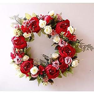 Yokoke Peony Wreath Rose Floral Twig Wreath 16 Inch Handmade Vintage Artificial Flowers Garland Front Door Wreath Beautiful Silk For Spring And Summer Wreath Display 7