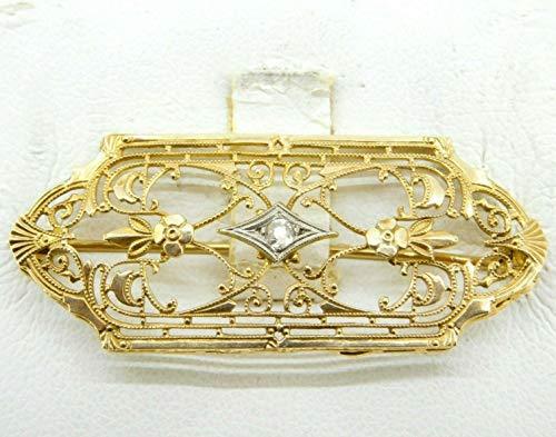 (10k Yellow Gold Filigree Art Deco Genuine Natural Diamond Pin (#J4310))