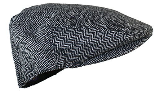 [Ted and Jack - Street Easy Herringbone Driving Cap With Quilted Lining (Small/Medium, Black and Light] (Paper Boy Hat)