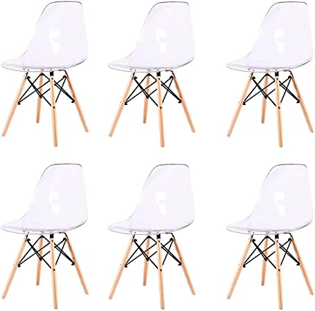 Zcxbhd Lot de 6 Chaise Transparente Scandinave Chaise Salle