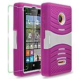 Microsoft Lumia 435 Case, INNOVAA Turbulent Armor Case W/ Free Screen Protector & Stylus Pen - White/Pink