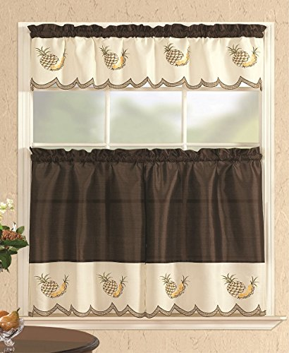 All American Collection Fruit Embroidered 3pc Kitchen Curtain Set With Straight Valance