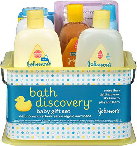 Johnson's Bath Discovery Gift Set For Parents-To-Be, Caddy With Bath Essentials, 8 Items (Unique Baby Girl Gift Baskets)
